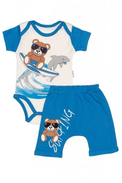 Compleu bebe bumbac ursulet surfing albastru