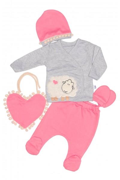 compleu bebe bumbac oita roz
