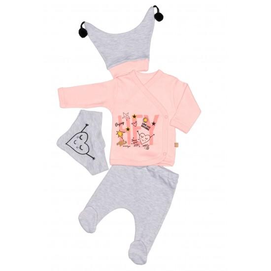compleu bebe bumbac roz piersica