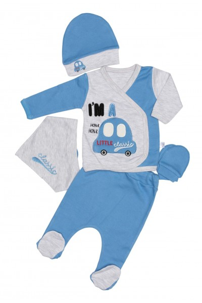 compleu bebe bumbac masinuta albastru-gri