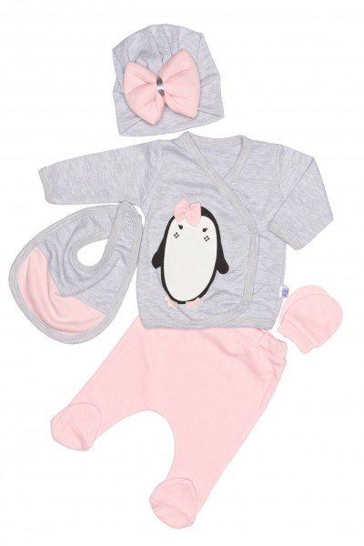 compleu bebe bumbac pinguin gri-roz