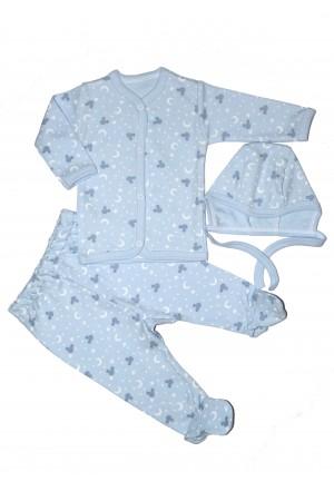 Costumas bebe 3 piese  rom baby bleu semilune