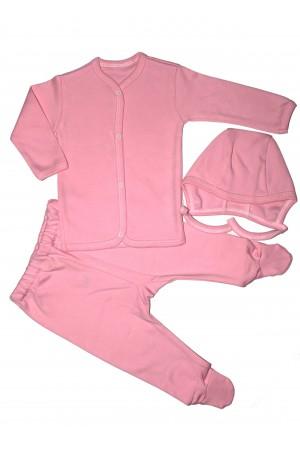 Costumas bebe 3 piese rom baby roz
