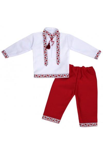 costum traditional alb-rosu