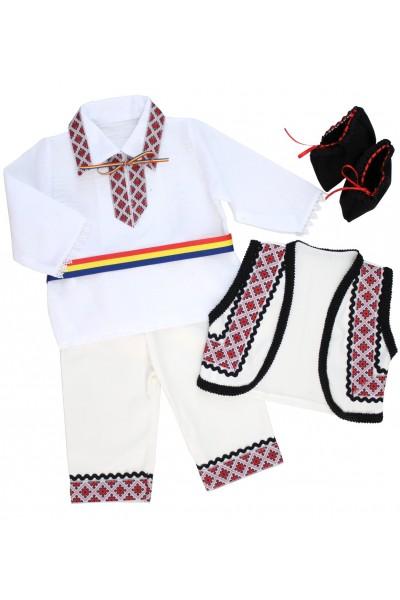 costum traditional baieti rosu 4 piese
