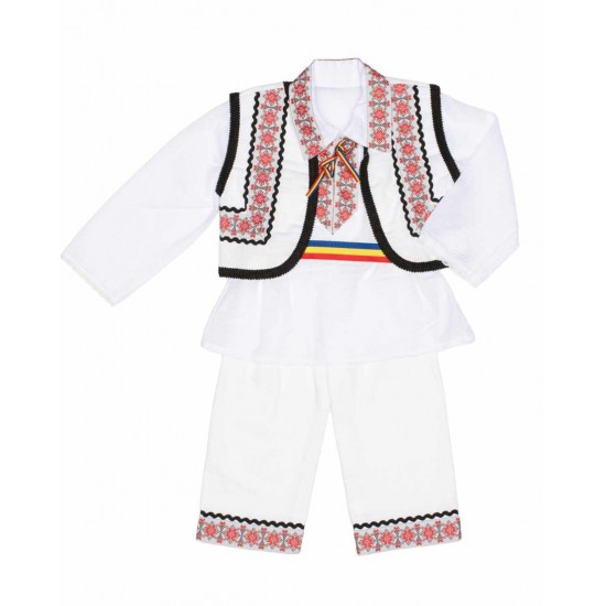 costum traditional baieti vesta rosu