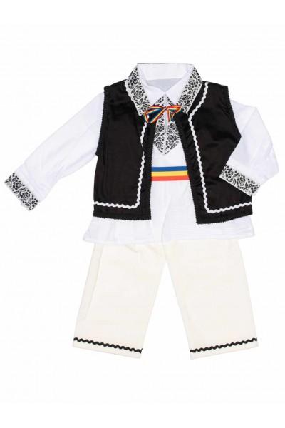costum traditional baieti vesta neagra