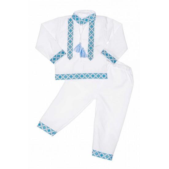 costum traditional baieti albastru