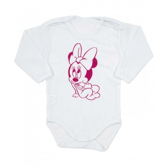 body bebe bumbac maneca lunga imprimeu baby mouse cyclame
