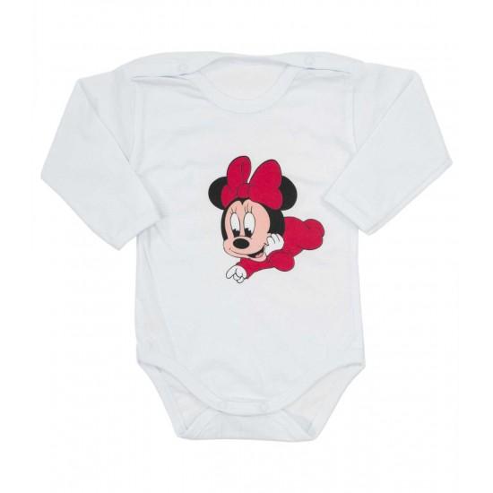 body bebe bumbac maneca lunga imprimeu baby mouse fundita rosie