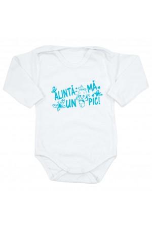 body bebe bumbac alb maneca lunga mesaj bleu alinta-ma un pic