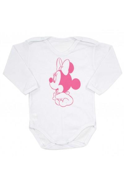 body bebe bumbac maneca lunga imprimeu baby mouse roz