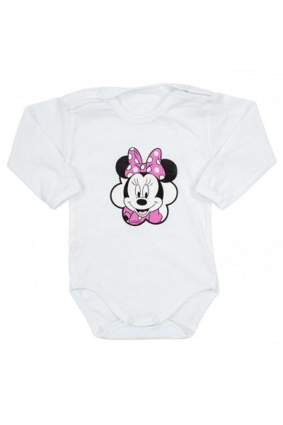 body bebe bumbac maneca lunga imprimeu mouse fundita roz