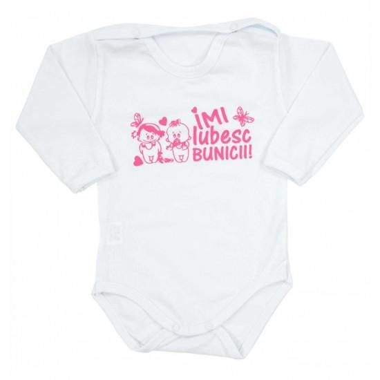 body bebe bumbac alb maneca lunga mesaj roz imi iubesc bunicii