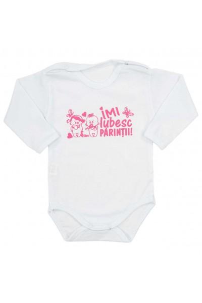 body bebe bumbac alb maneca lunga mesaj roz imi iubesc parintii