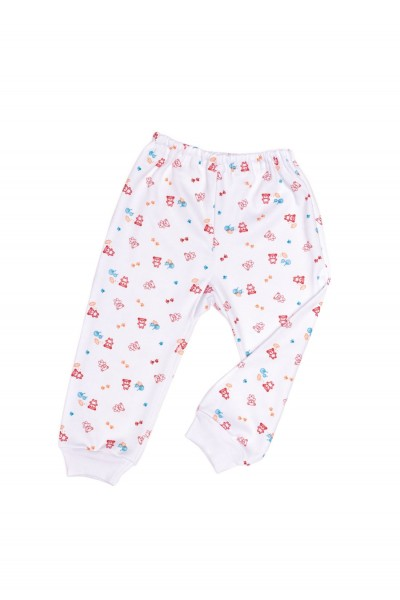 pantaloni casa azuga imprimeu ursuleti rosii