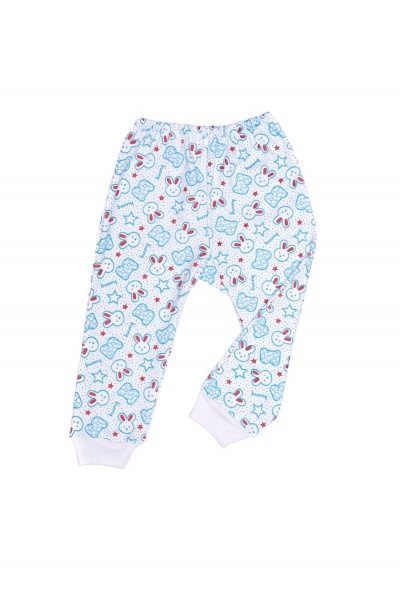 pantaloni casa azuga imprimeu iepuras bleu