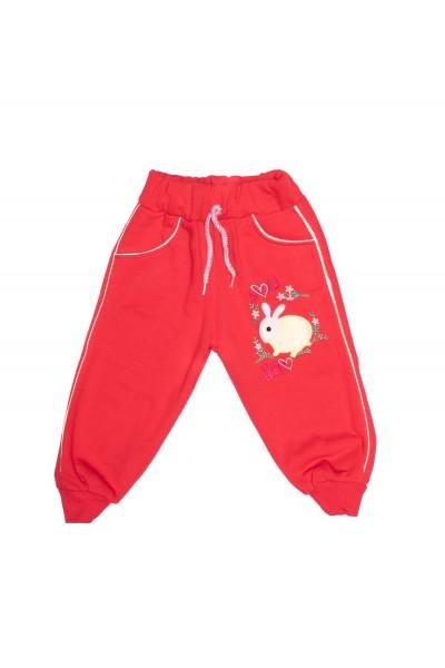 pantaloni fete rosi imprimeu iepuras galben