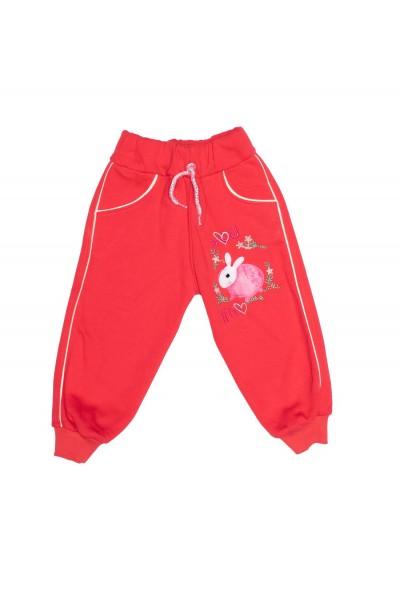 Pantaloni fete rosii imprimeu iepuras roz