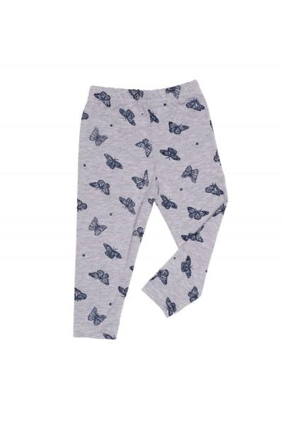 pantaloni tip colant fete gri imprimeu fluturasi