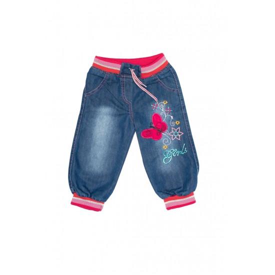 pantaloni denim fete imprimeu fluturas