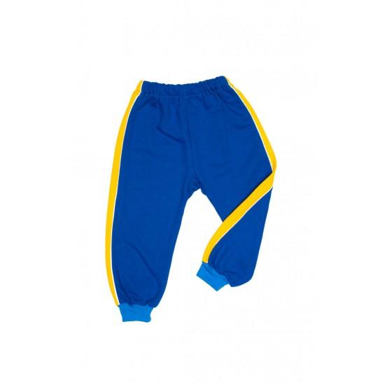 Pantaloni trening azuga albastri insert lateral galben