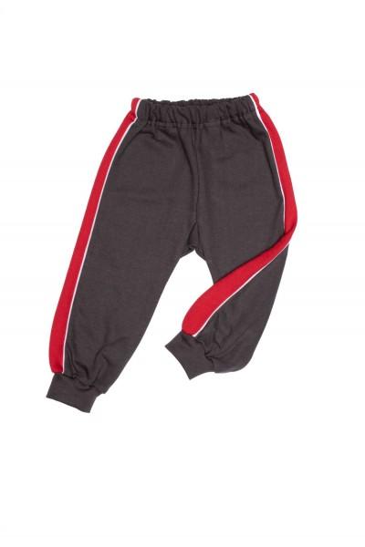 pantaloni trening azuga gri insert lateral rosu vatuiti