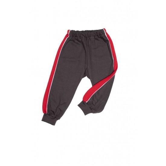 pantaloni trening azuga gri insert lateral rosu