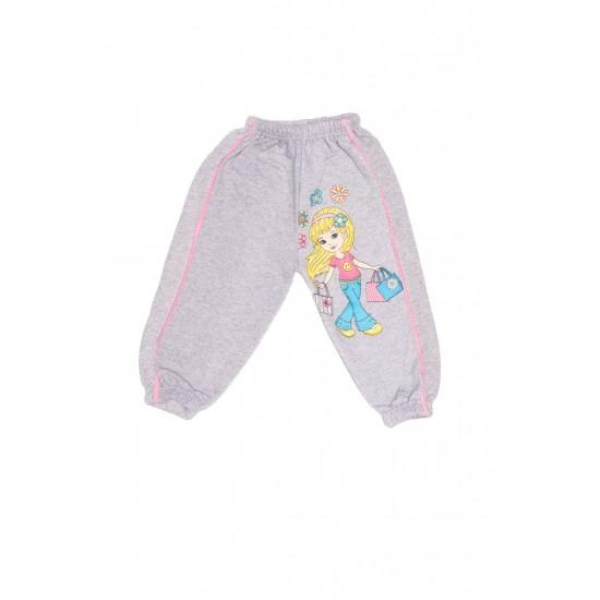 pantaloni copii gri imprimeu fetita