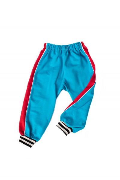 pantaloni trening azuga turqoise insert lateral rosu