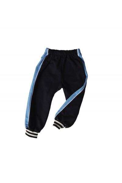 pantaloni trening azuga bleumarin, insert lateral turqoise