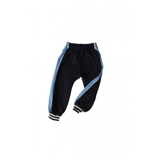 pantaloni trening azuga bleumarin insert lateral turqoise