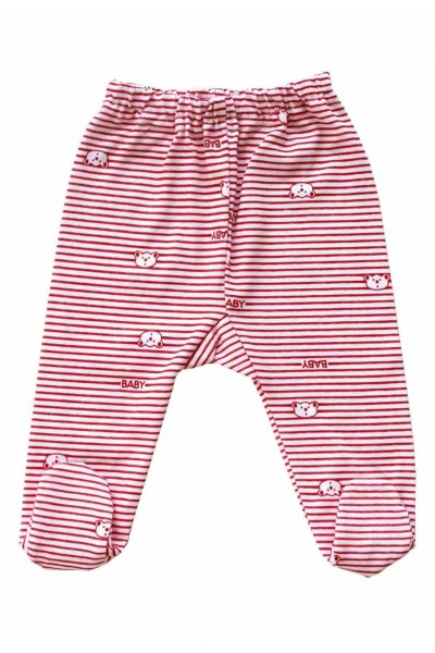 Pantaloni botosei bumbac subtire dungi rosii