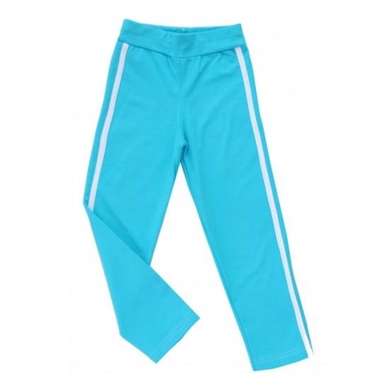 pantaloni fete turcoaz cu dunga alba