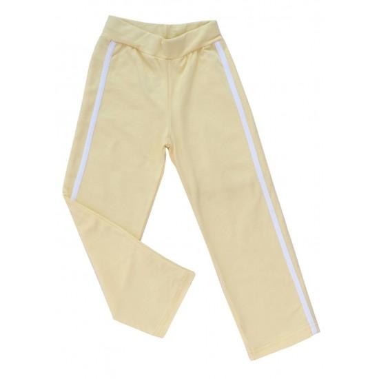 pantaloni fete galbeni cu dunga alba