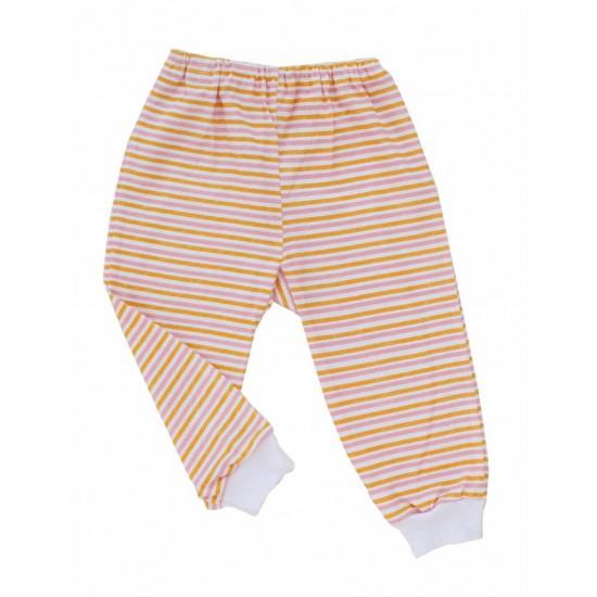 pantaloni casa bumbac subtire azuga dungi roz-portocaliu