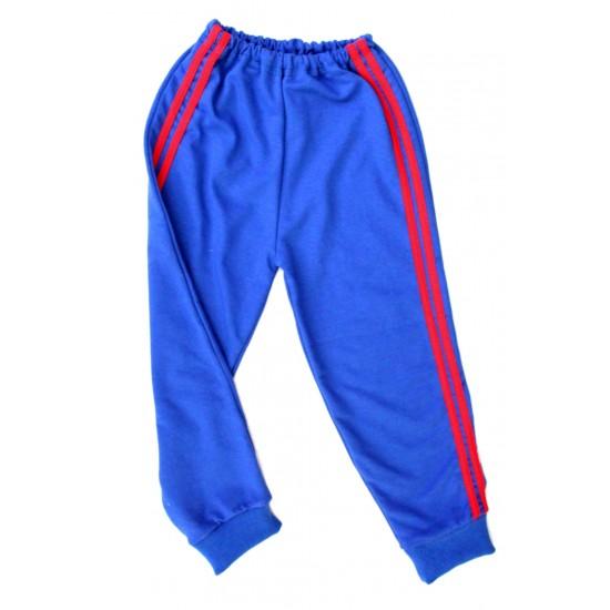 Pantaloni baieti trening iris albastru dungi rosi