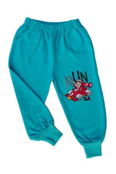 pantaloni baieti run turcoaz