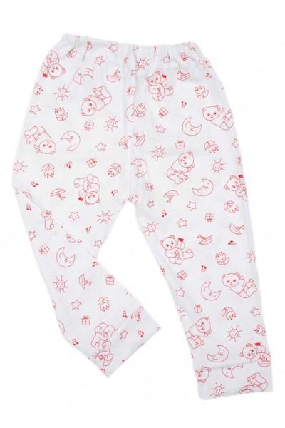 Pantaloni casa iris bumbac subtire ursuleti rosii
