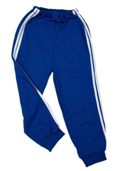 Pantaloni baieti trening iris albastru dungi albe