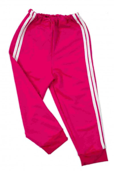 Pantaloni baieti trening iris roz dungi albe