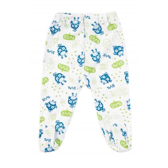 Pantaloni botosel bumbac subtire tweet albastru-vernil