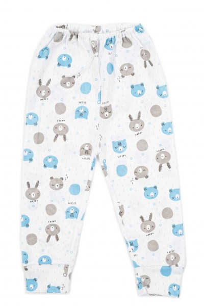 Pantaloni casa bumbac cap urs bleu-gri