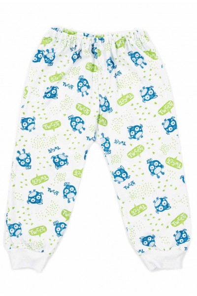 Pantaloni casa bumbac subtire tweet albastru-vernil