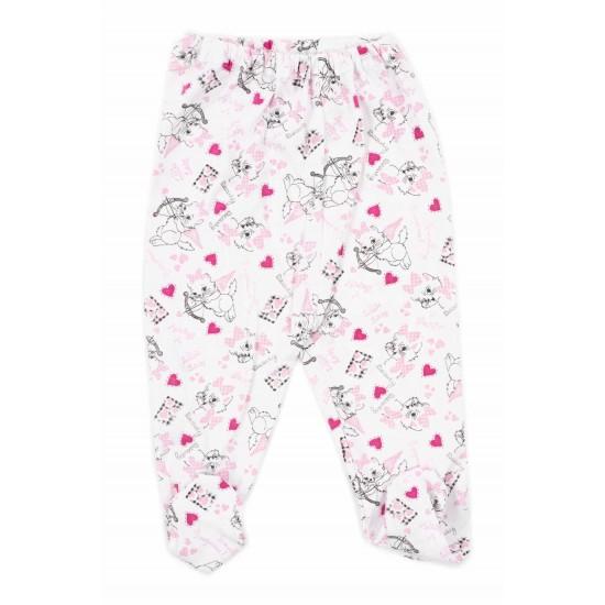 Pantaloni botosei bumbac subtire pisicute roz