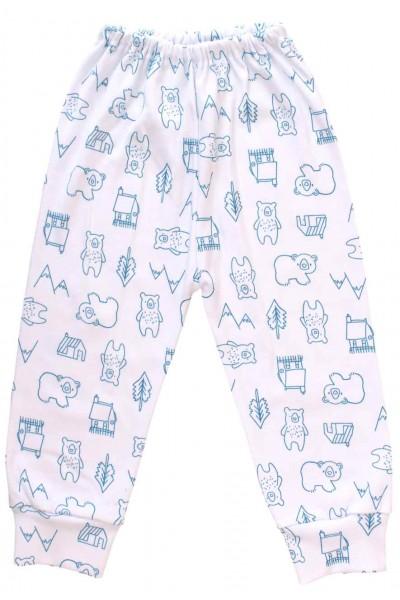 pantaloni casa bumbac urs albastru