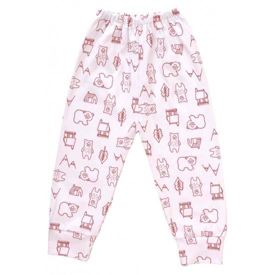 pantaloni casa bumbac urs rosu