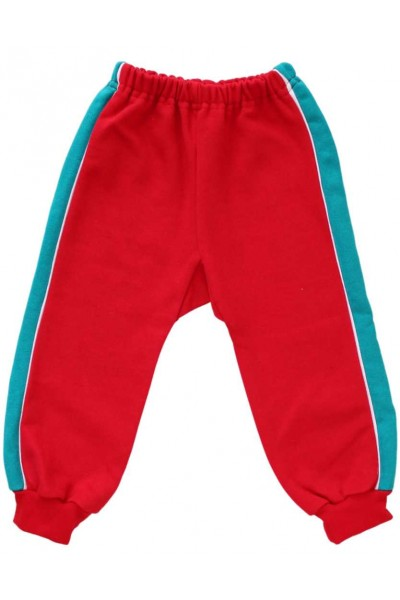 pantaloni trening vatuiti copii rosi insert turcoaz