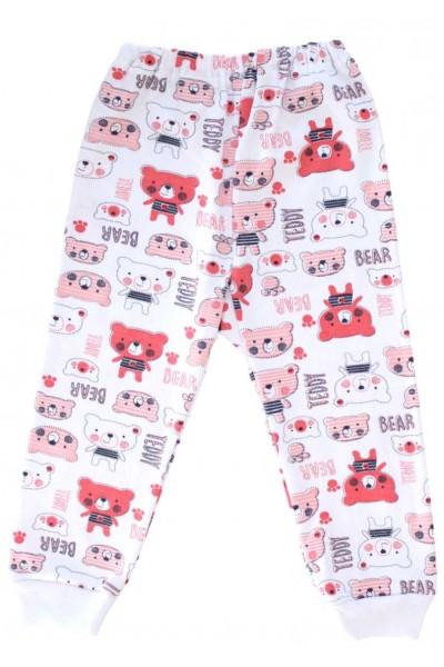Pantaloni casa bumbac ursuleti rosii + roz