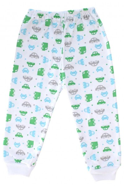 Pantaloni casa bumbac masinute bleu si verzi
